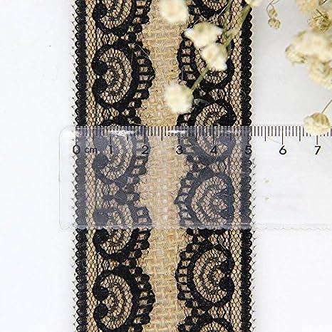 Ruban en Toile de Jute de Dentelle Ruban Satin Ruban satin/é Noir Decoration Mariage pour DIY C/él/ébrations F/êtes Cadeau Ruban satin/é Artisanat et Emballage 6cm*2m Style 1 Qingsun
