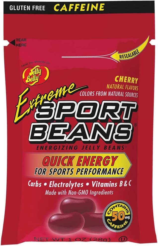 Jelly Belly Extreme Sport Beans - Caffeinated Energizing Jelly Beans - Cherry Flavor - 1 oz Bag - 24 Count Case - Official, Genuine, Straight from The Source