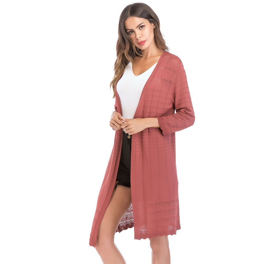 Makeupstore Women's Gradient Solid Long Cardigan tops Coat,Retro Hollow Autumn Thin Outwear Long Sleeve blouse jacket