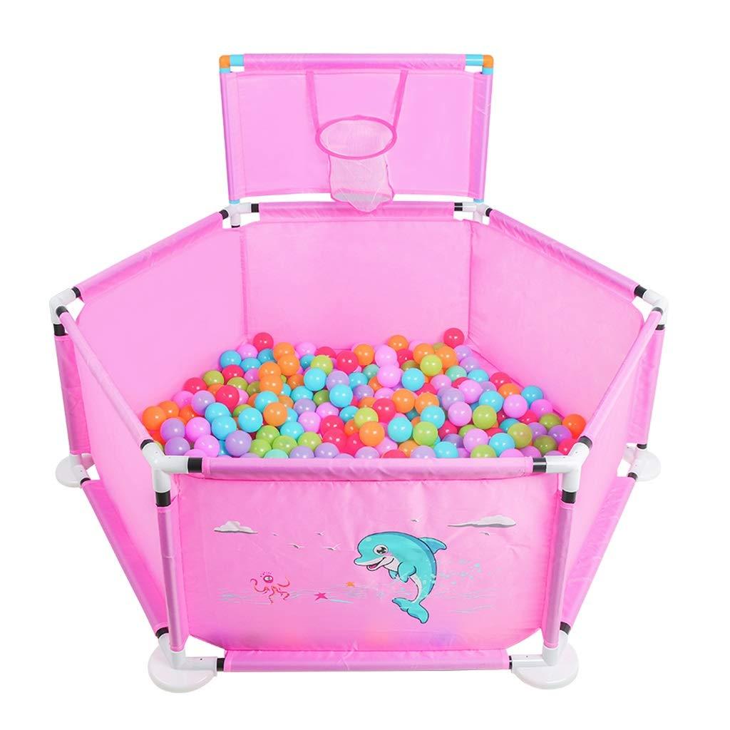 QIQIDEDIAN 赤ちゃんのベビーサークル子供の折りたたみ式ベビーフェンスベビーフェンス安全屋内屋外男の子女の子ペットフェンス犬フェンス (Color : Pink)  Pink B07TKK1ZFC
