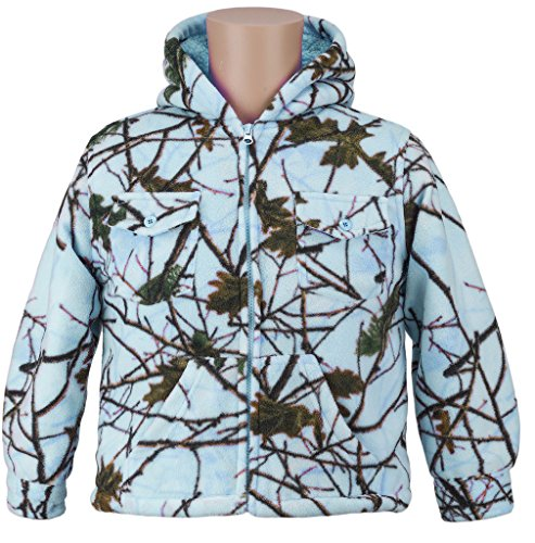 Trail Crest Kids Camo Sherpa lined Zip Up Jacket W/ Magnet, Small, Blue Camo