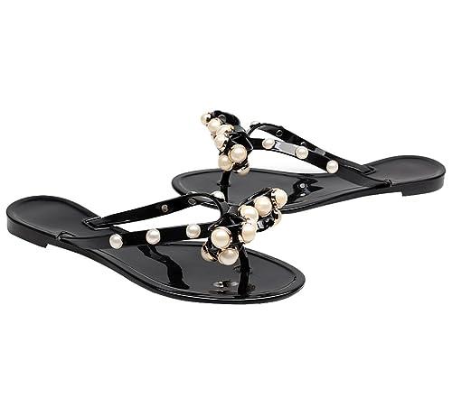 35227dca Kontai Womens Summer Jelly Ribbon Bow Flip Flop Thong Flat Sandals Slipper  Shoes Black