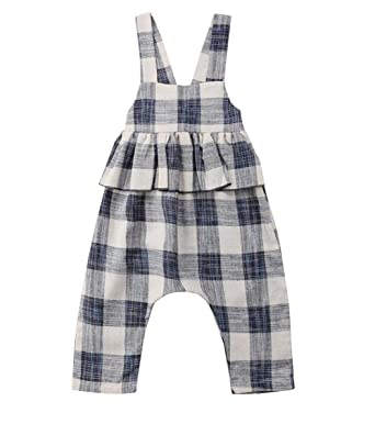 df90ec95ed6a Toddler Kids Baby Girl Plaid Ruffle Bell-Bottom Jumpsuit Romper Overalls  Bib Pants Clothes  Amazon.co.uk  Clothing