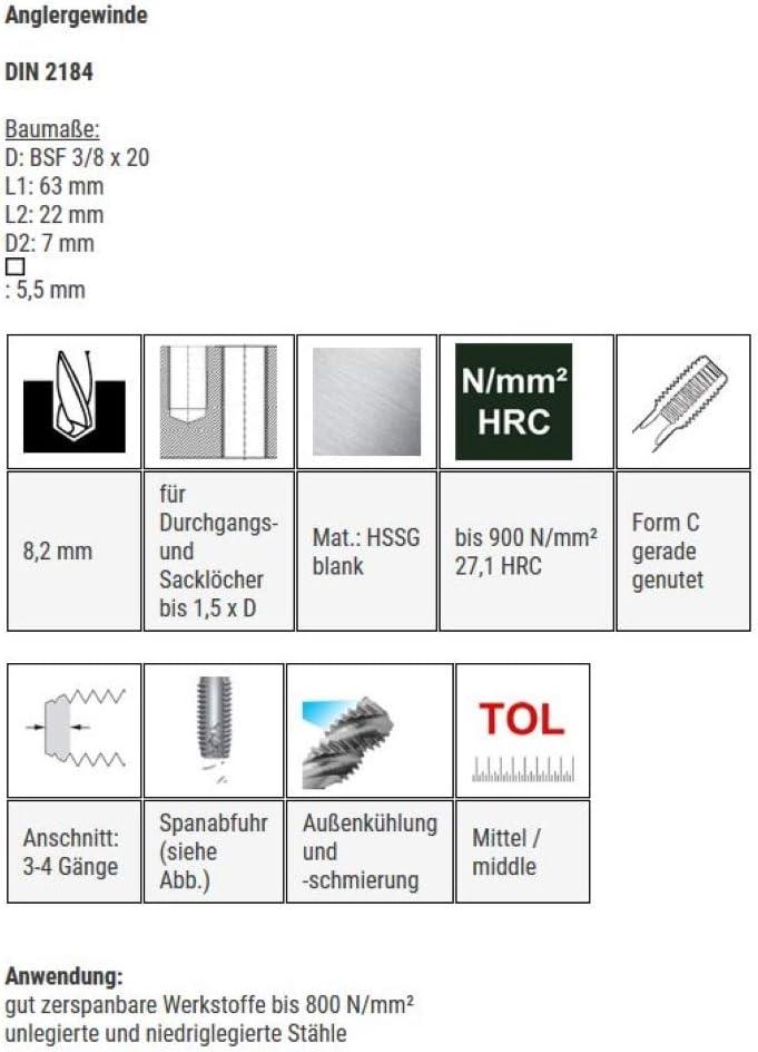 Gewindeschneider Gewindebohrer HSSG Einschnittgewindebohrer Anglergewinde Form C BSF 3//8 x 20