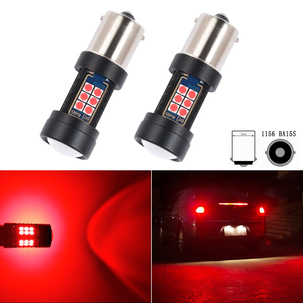 S25 1156 BA15S P21W LED Bulb Brake Turn Signal Tail Side Marker Lights RED Projector Front Rear Lamps Wedge Bulbs Replacement Error Free Super Bright 3030SMD 12V 5W 6 Month Warranty 180/° 2Pcs【1797】