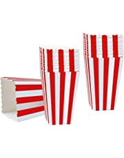 Alohha 50PCS Popcorn Favor Boxes, Striped Paper Popcorn Boxes Cardboard Candy Container for Birthday Theater Themed Parties Movie Nights Carnivals, Red And White 3.3 X 5.6 Inches