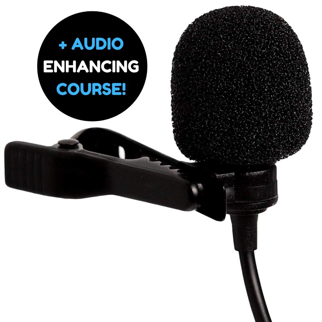 Amputive Lapel lavalier Clip Microphone For Youtube voice recording, omnidirectional mic for Laptop Smartphones PC product image