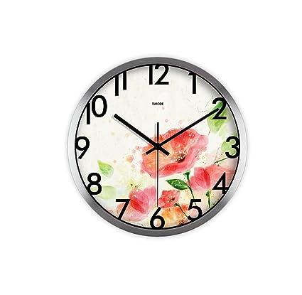 LQQGXL Mute living room art clock Hd glass wall clock Creative garden safflower quartz clock Creative