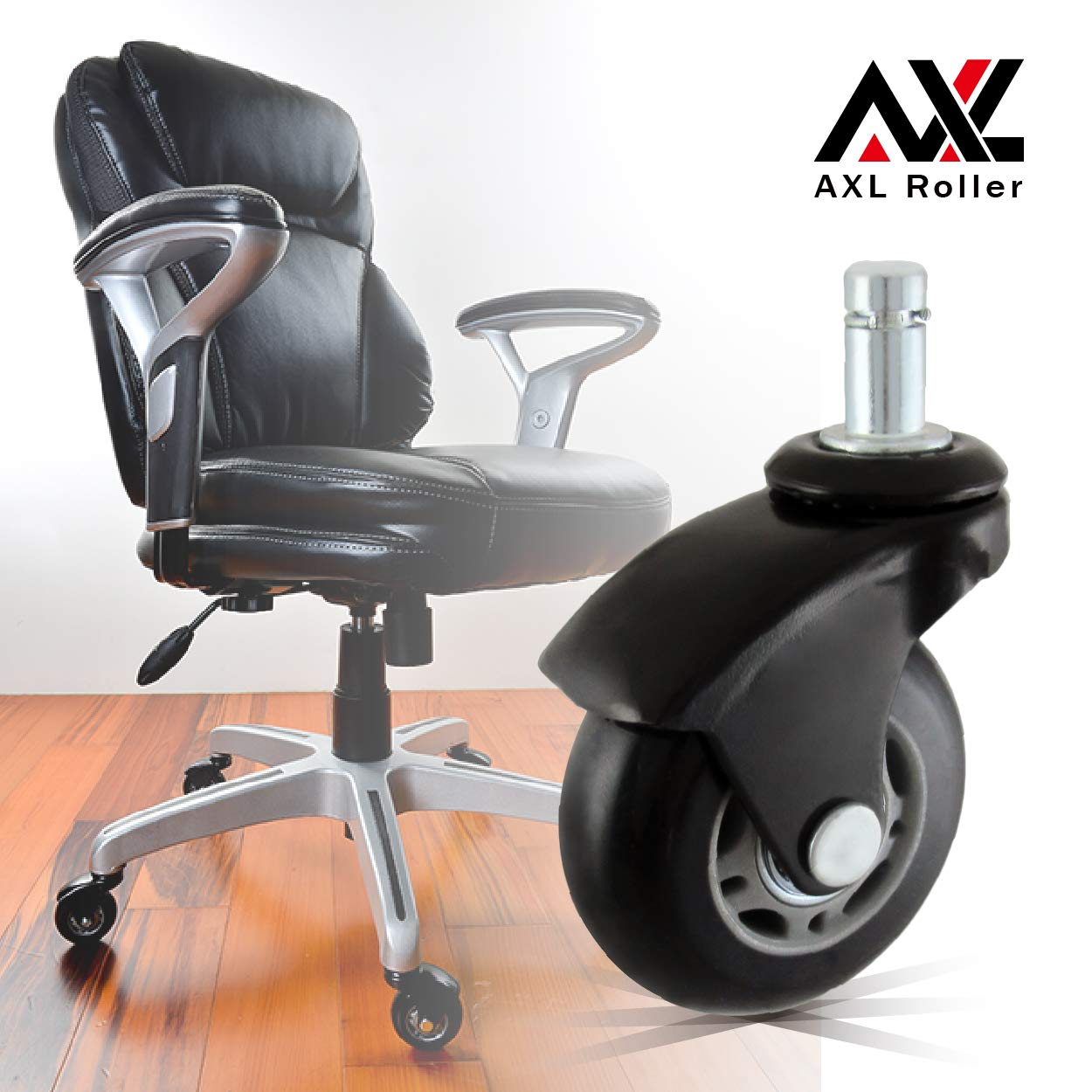 AXL 2.5 inch Office Chair Caster Wheel Replacement for Rollerblade Wheels Heavy Duty Casters for Hardwood Floors Safe (Black, Normal 11mm)