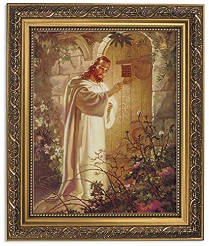 Gerffert Collection Christ at Heart's Door Religious Framed Portrait Print, 13 Inch (Ornate Gold Tone Finish Frame)