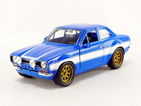 1970 Brians Ford Escort Blue with White Stripes Fast & Furious Movie 1/24 Diecast