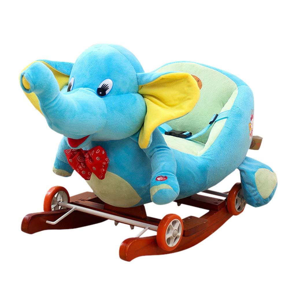 QIQIDEDIAN ロッキングホースかわいいおもちゃの木製ファッション屋内玩具遊び場幼稚園の少年少女 (Color : Blue)  Blue B07K2TMWVG