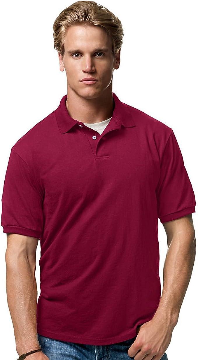 Hanes Cotton-Blend Men`s Jersey Polo Cardinal