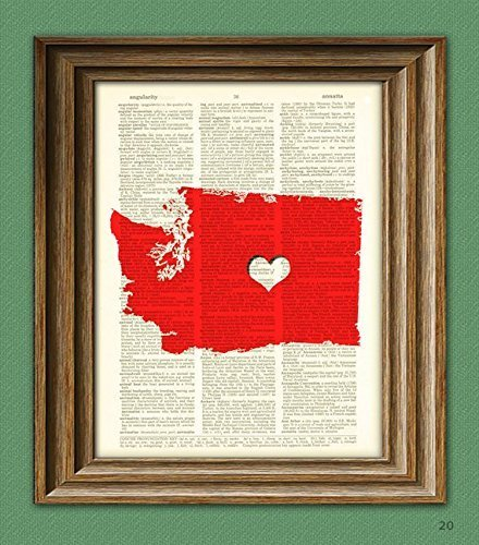 my-heart-is-in-washington-state-map-awesome-upcycled-vintage-dictionary-page-book-art-print