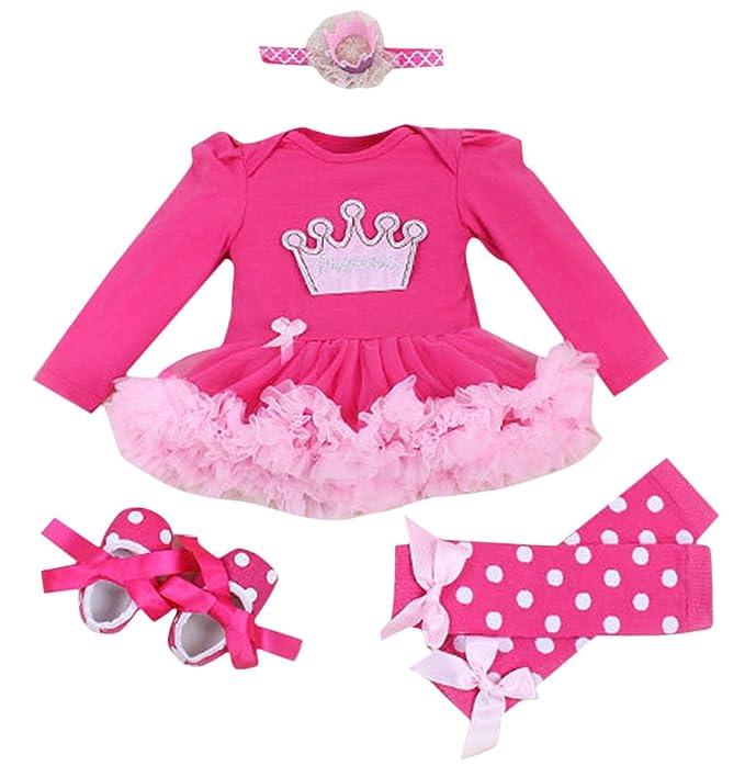 FEOYA - (conjunto de 4)Vestido de Tutú Ropa Manga larga para Bebés Recién nacidos Niñas Banda de Pelo y Calcetines Y Zapatos para Fiesta Ceremonia con ...