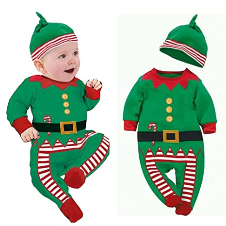 53c216911 3Pcs set Christmas Baby Boys Girls Elf Costume Romper Onesie Hat ...