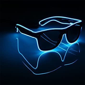 5c139e2384 Bluelans Light up El Wire Neon Rave Glasses Glow Flashing LED Sunglasses  Costumes for Party