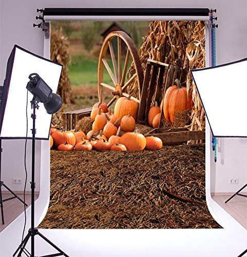 LFEEY Vinyl Thin Backdrop 3x5ft Photography Background Happy Halloween Festival Outdoor Piles Of Pumpkins Scene Backdrop,1(W)x1.5(H)m for Photo Studio Props]()