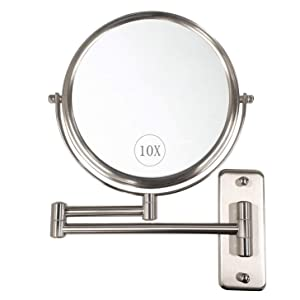 ALHAKIN Wall Mounted Makeup Mirror - 10x Magnification 8'' Two-Sided Swivel Extendable Bathroom Mirror Nickel Finish