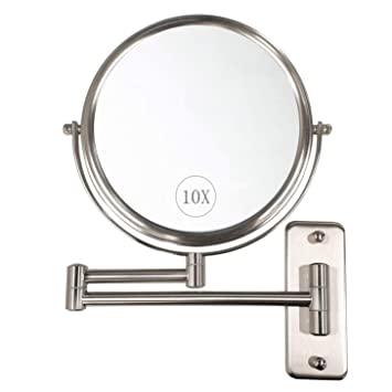 Wall Mounted Magnifying Makeup Mirror.Alhakin Wall Mounted Makeup Mirror 10x Magnification 8 Two Sided Swivel Extendable Bathroom Mirror Nickel Finish