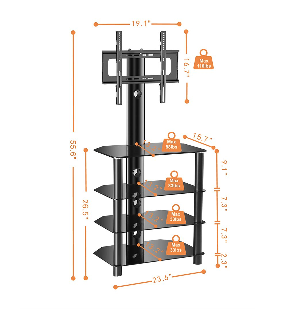 Tavr Tv Stand With Swivel Mount And Height Adjustable Bracket For 32