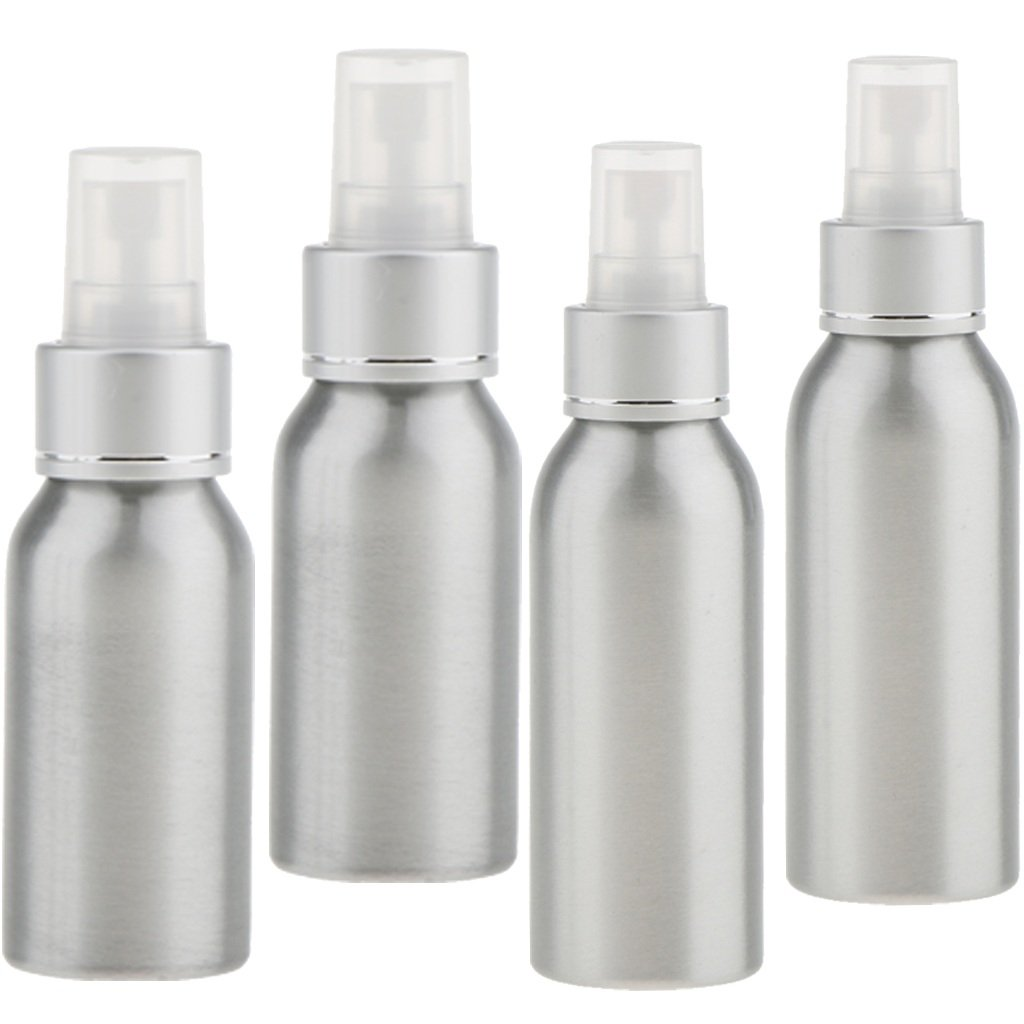 Homyl 4 Stück Aluminium-Sprühflasche für Frisörsalon und Garten, zum Befeuchten von Haar und Pflanzen oder zur Pflege von Haustieren, 50/100ml