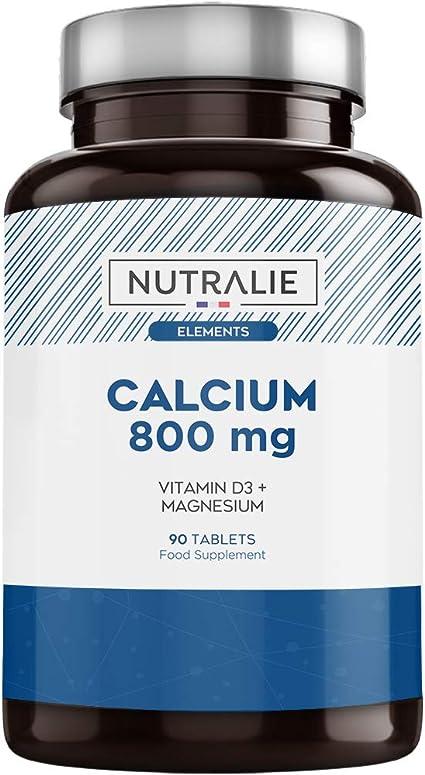Calcio 800 mg con Magnesio y Vitamina D | Mantenimiento de Huesos, Dientes y Músculos Normales con Calcio, Magnesio y Vitamina D3 de Alta Absorción | ...