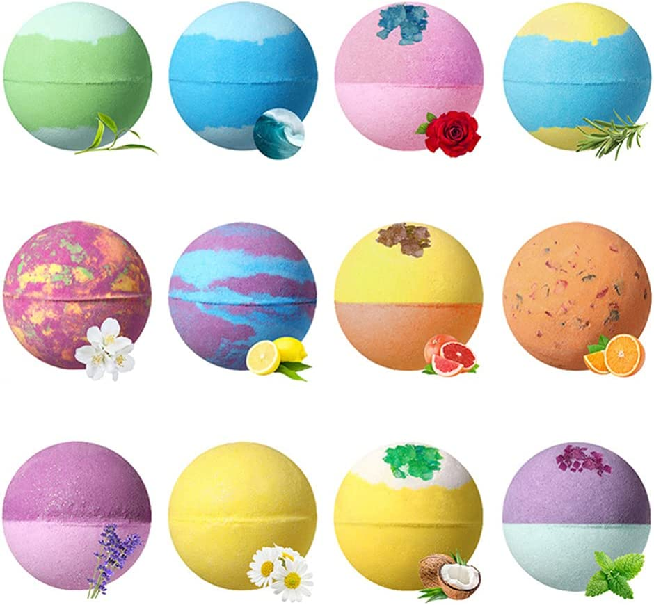 Aooty Bath Bombs Spa Bath Balls Gift Bath Bomb Ball Essential Oil Bubbles for Kids Women Moisturize Dry Skin 12Pcs