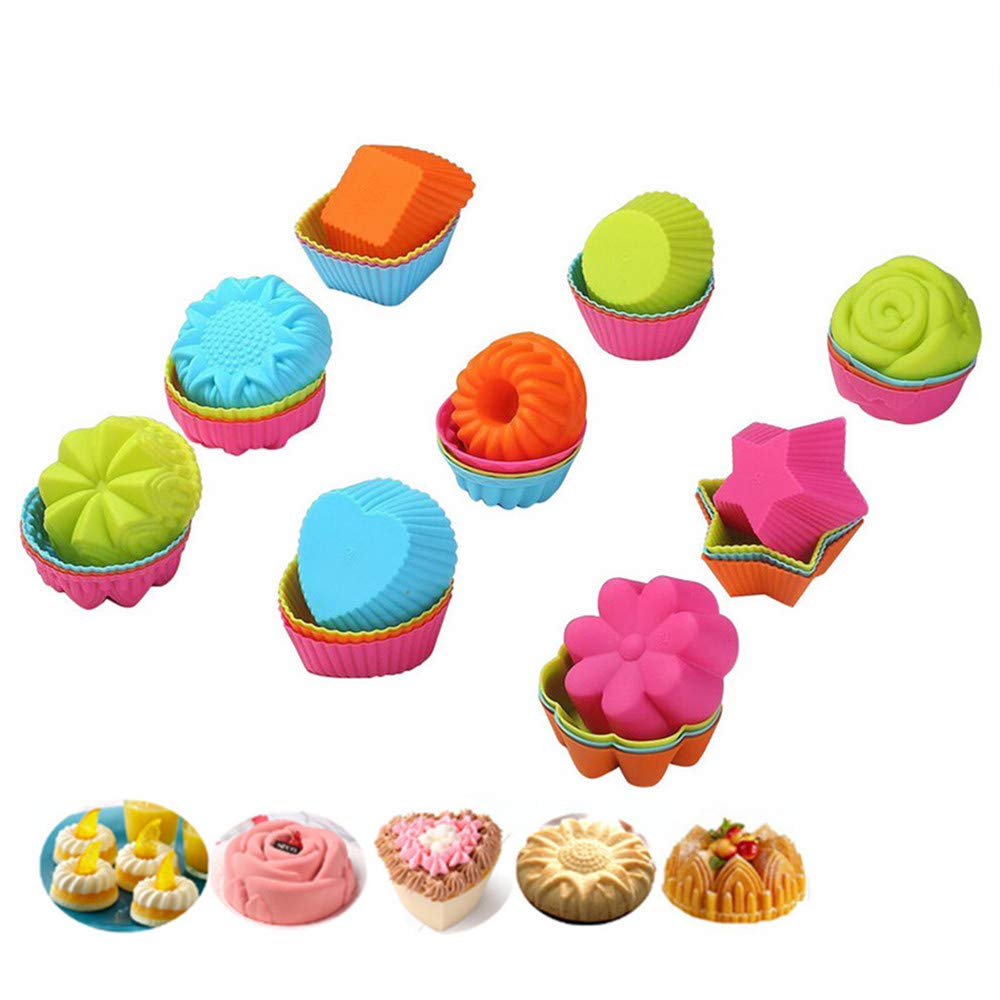 24-Pcs Donut Cake Molds Set by KeepingcooX | Silicone Fancy Dessert Mould, 7.5 cm Small Bundt Cake Cups - Pumpkin, Star, Flower, Heart, Savarin Shapes Moulds for Doughnut, Mini Cakes, Cookie, Sushi