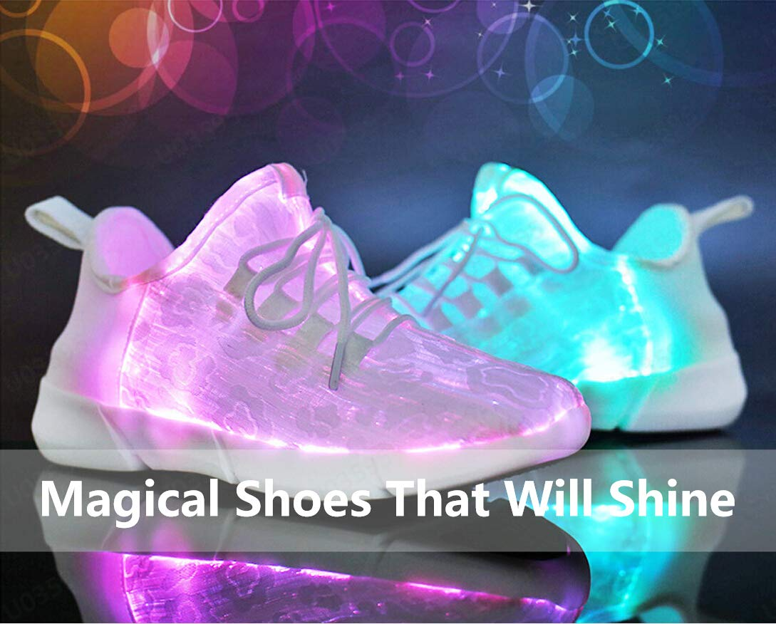 All White Sneakers for Women Men の Luminous LED Light Casual Trainer His and Hers Breathable Walking Shoes Sameno Street