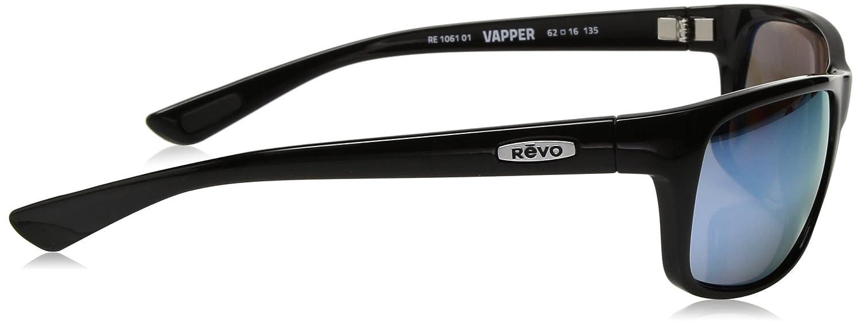 Revo Unisex RE 1061 Vapper Wraparound Polarized UV Protection Sunglasses Wrap Black Frame Blue Water Lens