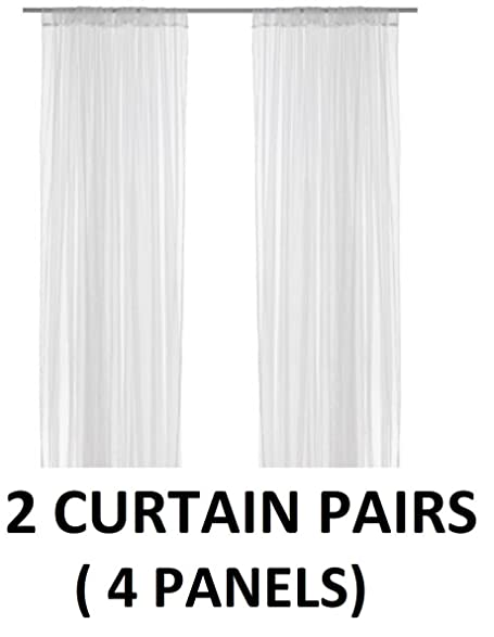 Ikea Lill Sheer Curtains 4 Panels 98 X 110 (2 Curtain Pairs, White)