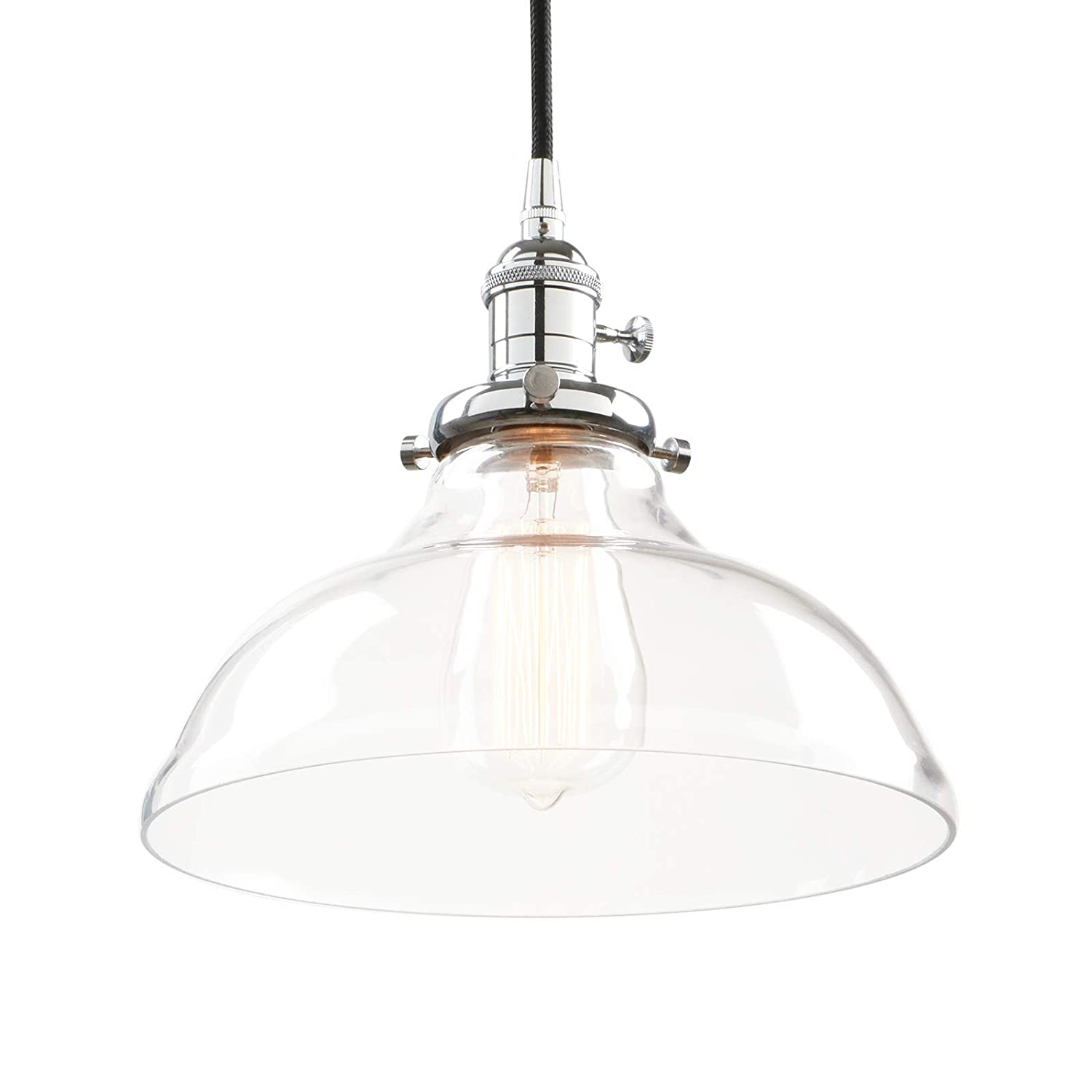 Phansthy 9.84 Inch Vintage Industrial Pendant Ceiling Light Shade Metal Chrome Clear Glass Chandelier Shade fenthy FTY269A