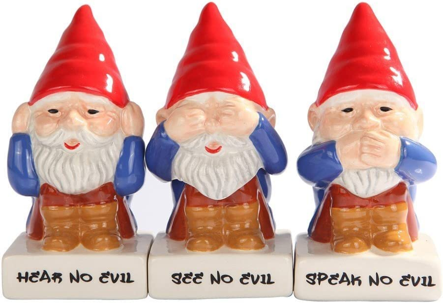 GNOMES SEE HEAR SPEAK NO EVIL CERAMIC SALT PEPPER SHAKER TOOTHPICK HOLDER SET