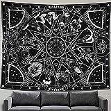 Zussun 12 Constellation Tapestry Star Sun Tarot Tapestry Black and White Hippy CelestialBohemian Home Decor