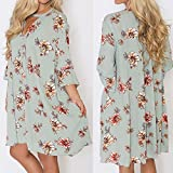 Overmal Womens Fashion Long Sleeve Mini Print Bandage Beach Dress