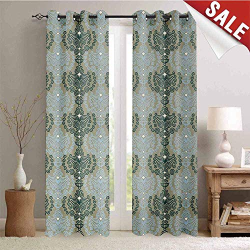 Hengshu Floral Decor Curtains by Abstract Art Damask Desgin Floral Ornament Background Wallpaper Pattern Print Room Darkening Wide Curtains W108 x L96 Inch Blue and Taupe