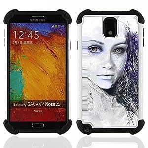 BullDog Case - FOR/Samsung Galaxy Note3 N9000 N9008V N9009 / - / Painted Girl /- H??brido Heavy Duty caja del tel??fono protector din??mico - silicona suave