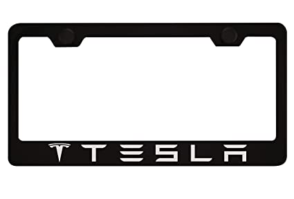 Amazon.com: Tesla Black License Plate Frame with Caps: Automotive