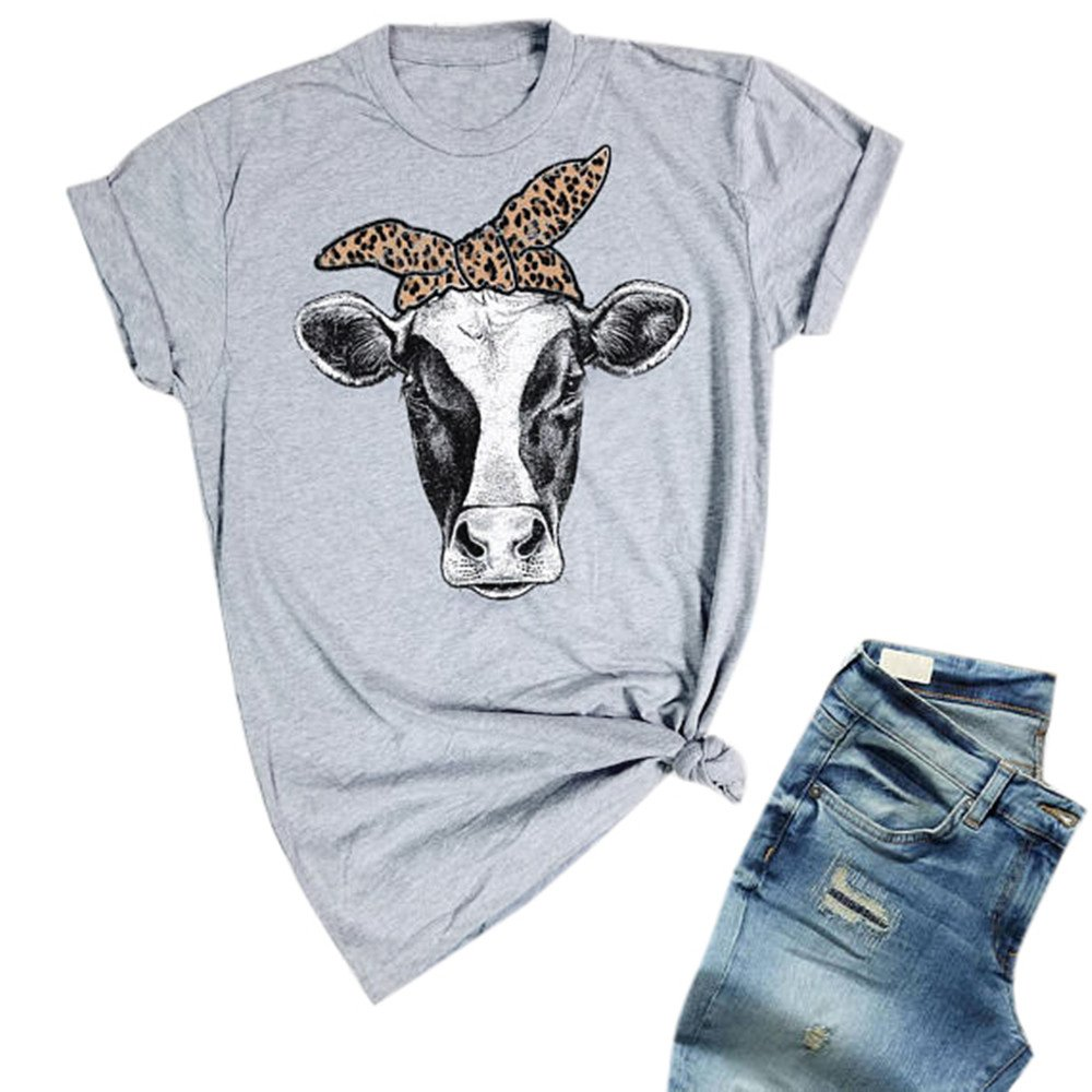 JOYCHEER Womens Cow Shirts Summer Short Sleeve Funny Cute T-Shirts Casual Loose Tee Tops