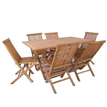 Conjunto muebles teca de jardín: Amazon.es: Jardín