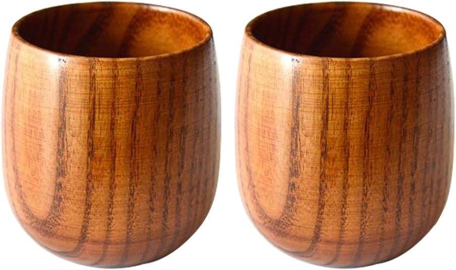 Amaoma Jujube Wood Cup, Wooden Cup Wooden Tea Set Cup Natural Wood Mug for Coffee Beer Tea Juice Milk (2pcsset)