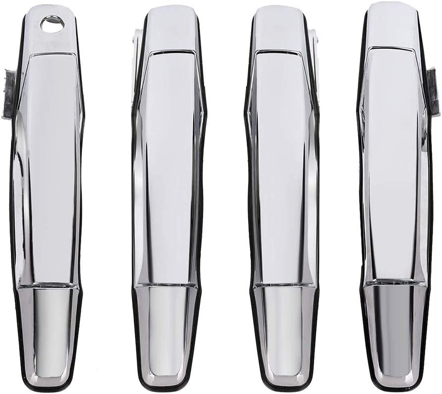 Exterior Door Handle Fit for 2007-2013 Cadillac Escalade Chevy Avalanche Silverado Suburban Tahoe GMC Sierra Yukon Pickup Truck SUV, 4 PCS Front Rear Driver & Passenger Side