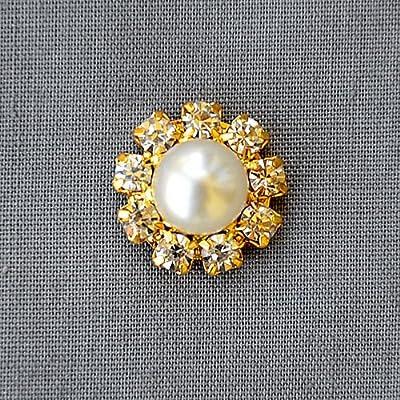 20 Rhinestone Button Brooch Embellishment Crystal Pearl Bridal Brooch Bouquet Wedding Invitation Cake Decoration Gold DIY BT599