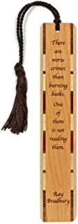 product image for Personalized Burning Books Quote by Ray Bradbury, Engraved Wooden Bookmark with Tassel - Search B016LF3FYK for Non-Personalized Version
