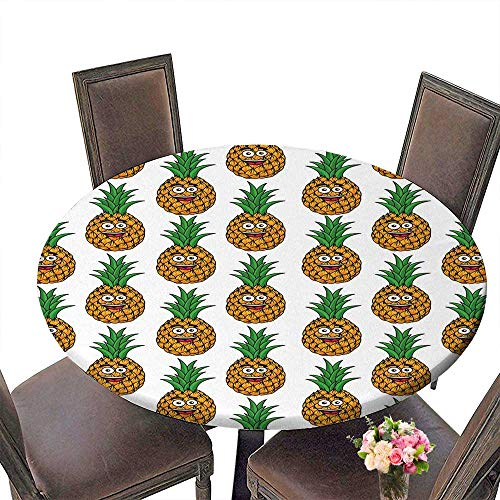 PINAFORE Modern Simple Round Tablecloth Fresh Tropical Fruits wit a Happy Smiling Apricot Avocado Watermelon Mango andlime Decoration Washable 50
