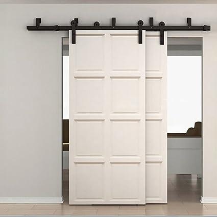 Hahaemall moderna resistente de derivación puerta corredera pista Kit deslizante Puerta Armario sistema de pista de Hardware armario para puertas de madera doble: Amazon.es: Bricolaje y herramientas