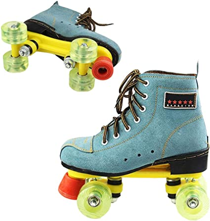 Roller Skates Artistic Double Row Adjustable Leather Roller Skates Skating Shoes Indoor Outdoor Adult Roller Skates