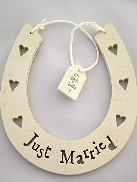 East Of India Wooden Horseshoe Wedding Gift Just Married By East