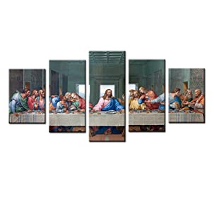 Jingtao Art 1 Jesus The Last Supper Wall Art Painting Canvas Prints Home Decoration in 5 Pieces,Stretched-Ready to Hang (8x12inchx2+8x16inchx2+8x20inch), White